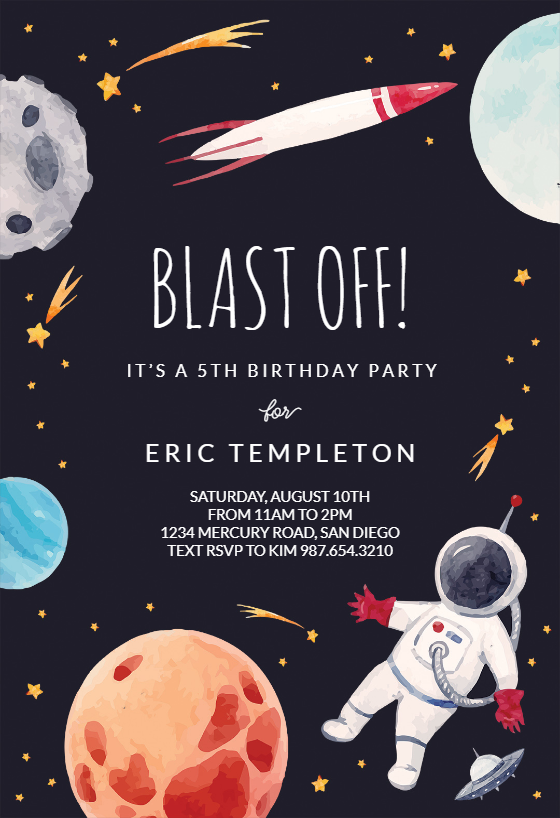 Outer Space Birthday Invitation Template Greetings Island