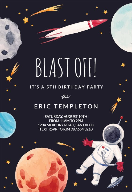 Outer Space - Free Birthday Invitation Template ...