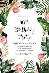 Painterly Tropical - Birthday Invitation