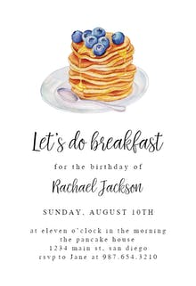 Pancake breakfast - Birthday Invitation