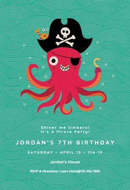Pieces of Eight - Birthday Invitation