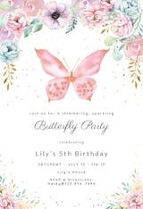 Pink glitter butterfly - Birthday Invitation