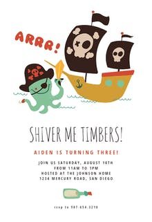 Pirate Ship - Birthday Invitation