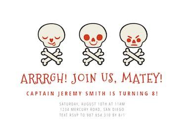 Pirate Skull - Birthday Invitation