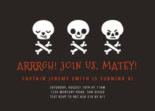 Pirate Skull - Halloween Party Invitation