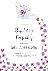 Pouring Tea - Birthday Invitation