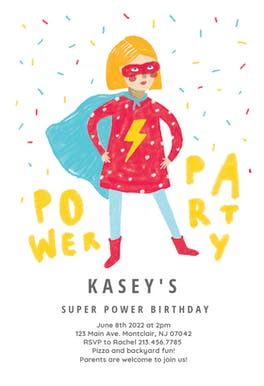Power girl party - Birthday Invitation
