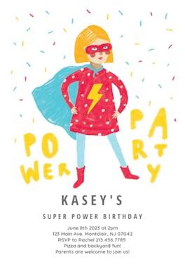 Power girl party - Birthday Invitation