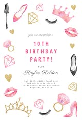 Princess Makeup - Birthday Invitation