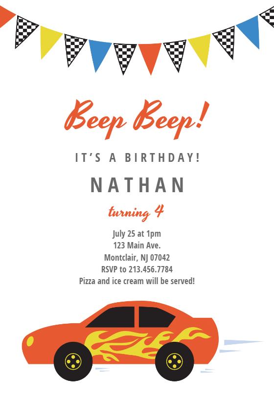 Racing car Free Birthday Invitation Template Greetings Island