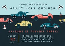 Racing Cars - Birthday Invitation