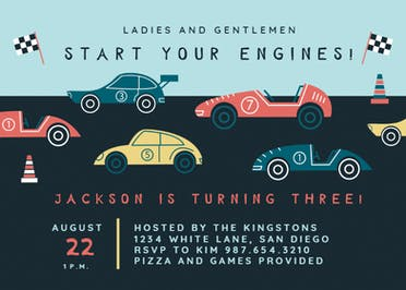 Racing Cars - Birthday Invitation