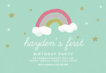 Rainbow joy - Birthday Invitation