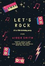 Rock Music Party - Birthday Invitation