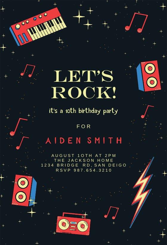 Queen Band Invitation Rock Invitation Queen Rock Invites Rock Birthday Queen Band Birthday Queen Band Party Rock Party Invite Music Invite