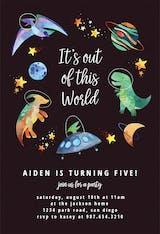 Space Dinosaurs - Invitación De Cumpleaños
