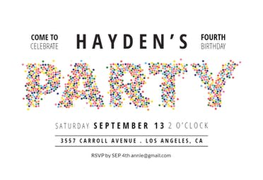 Sprinkles lettering - Birthday Invitation