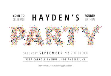 Sprinkles lettering - Party Invitation