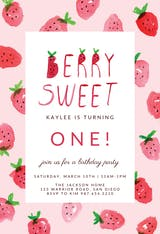 Strawberry - Birthday Invitation