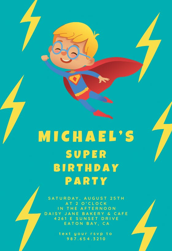 Happy Birthday 16 Superhero Party Invites /& Envelopes Come To My Party.