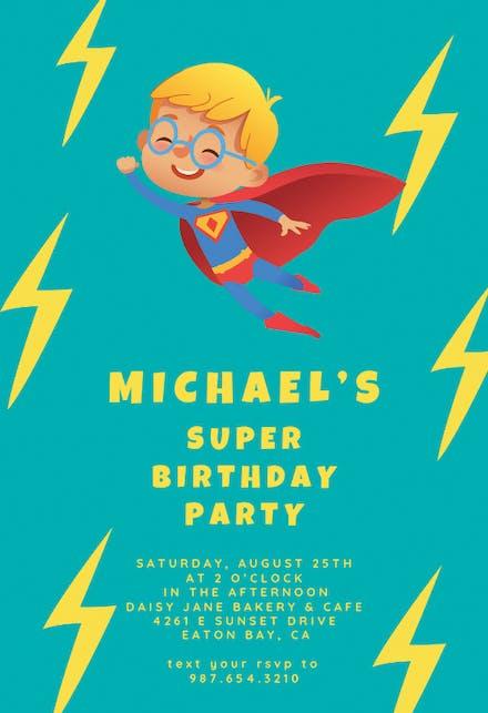 Superhero Birthday Invitation Templates Free Greetings