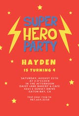 Super hero - Birthday Invitation