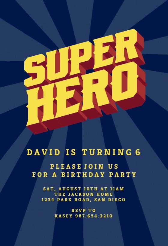 Superhero Poster Birthday Invitation Template Free