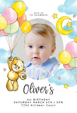 Teddy bear & balloons - Birthday Invitation