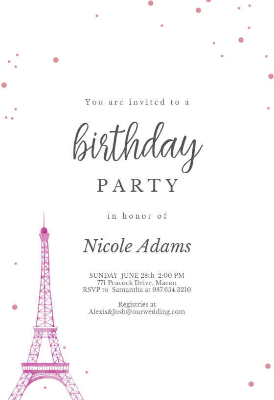 free birthday invitation template