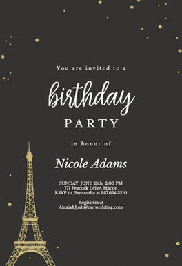 Touch of Paris - Birthday Invitation