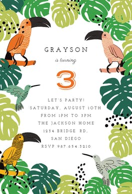 Tropical Birds - Birthday Invitation