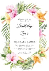 Tropical Flower Wreath - Birthday Invitation