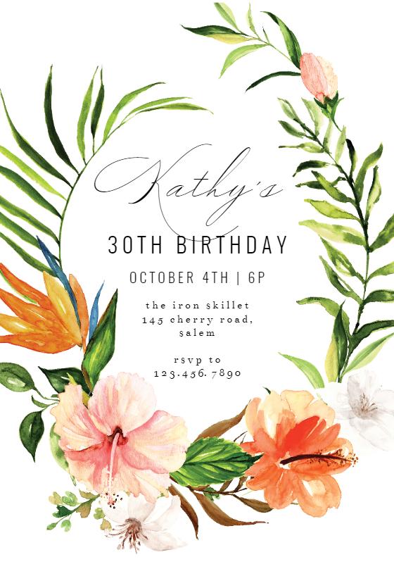 Tropical Painterly - Birthday Invitation Template (free ...