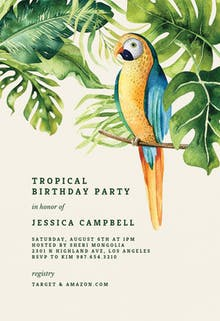 Tropical parrot - Pool Party Invitation