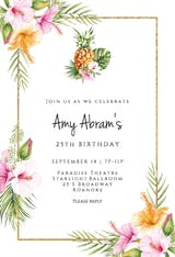 Tropical Pineapple - Birthday Invitation