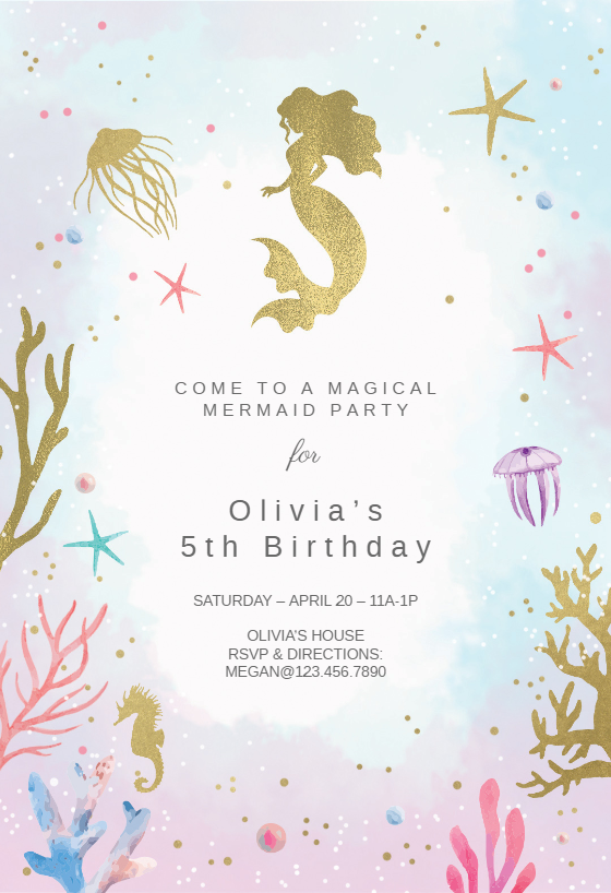 photo relating to Mermaid Birthday Invitations Free Printable called Mermaid Invitation Template (Free of charge) Greetings Island