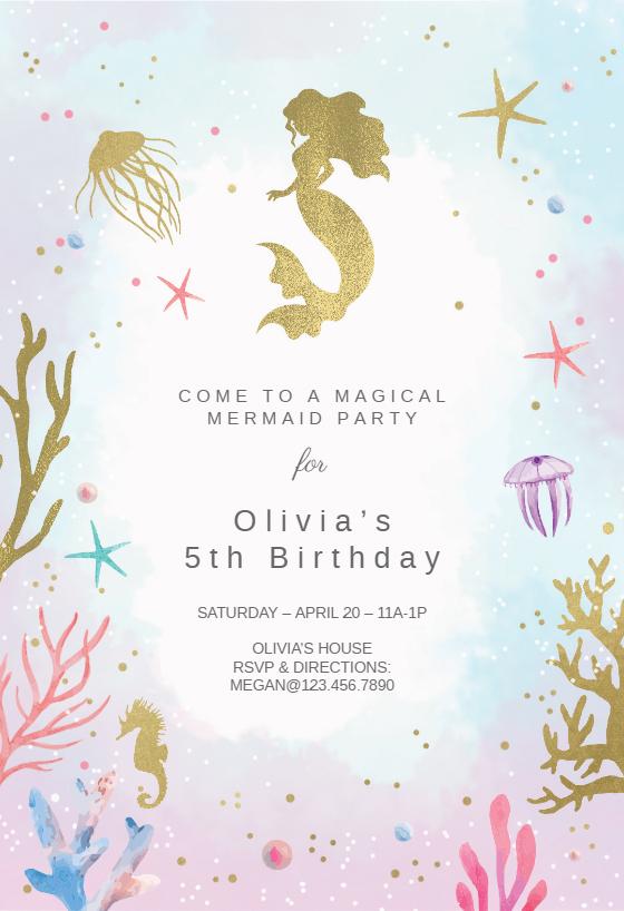 image regarding Mermaid Birthday Invitations Free Printable named Mermaid Invitation Template (No cost) Greetings Island