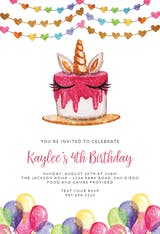 Unicorn Cake - Birthday Invitation