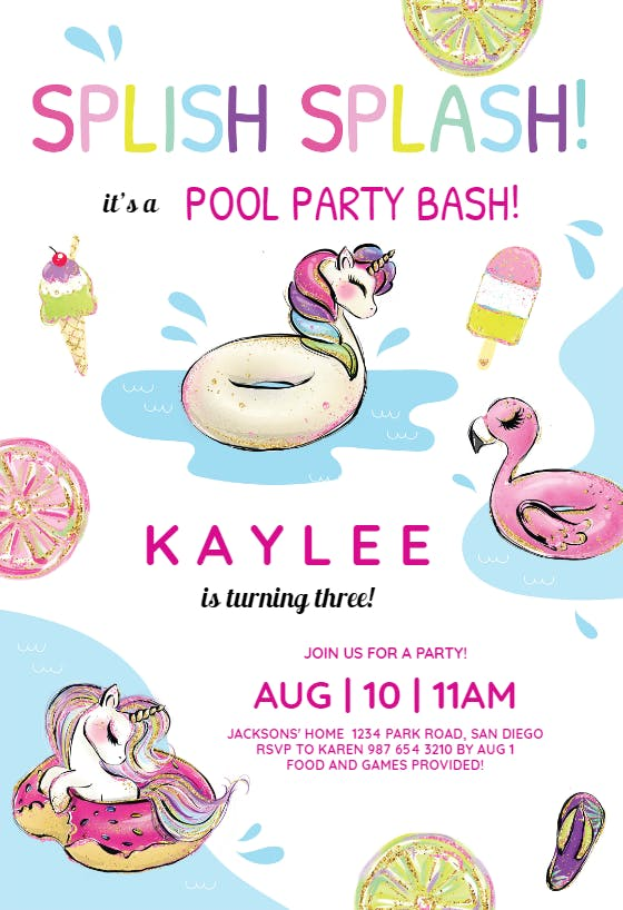 Editable Magical Mermaid and Unicorn Pool Party Birthday Invitation Download Mermaid Pool Party striped Unicorn Pool Party Digital Invite