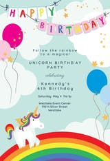 Unicorns & Rainbows - Birthday Invitation