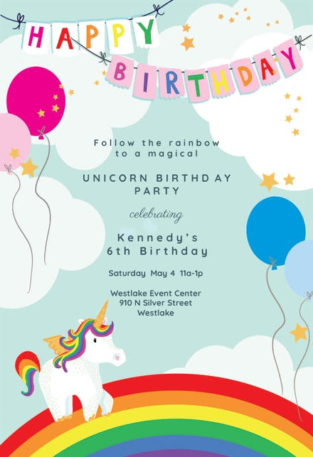 Unicorns Rainbows Birthday Invitation Template Free