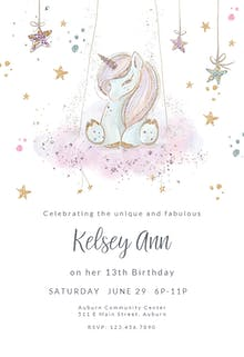 Uniquely Unicorn - Birthday Invitation