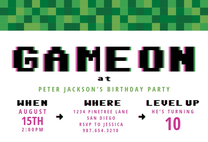Video Game Party Birthday Invitation Template Free Greetings