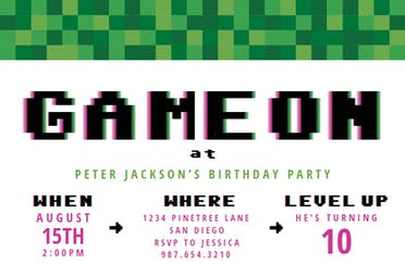 This is an image of Refreshing Free Printable Video Game Party Invitations