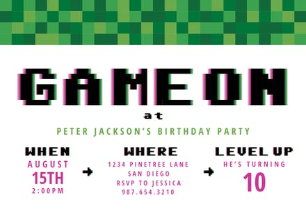 Video Game Party Birthday Invitation Template Free