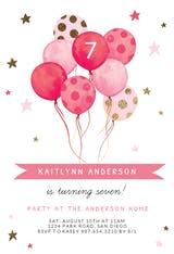 Watercolor Balloons - Birthday Invitation