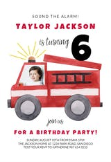 Watercolor Firetruck Verticle - Birthday Invitation