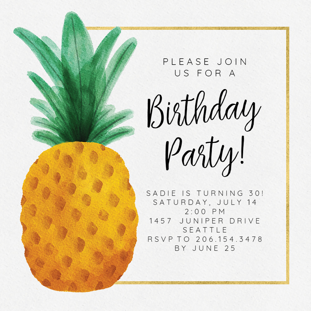 Watercolor Pineapple Birthday Invitation Template Free