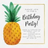 Watercolor pineapple - Birthday Invitation