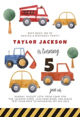 Watercolor Trucks - Birthday Invitation